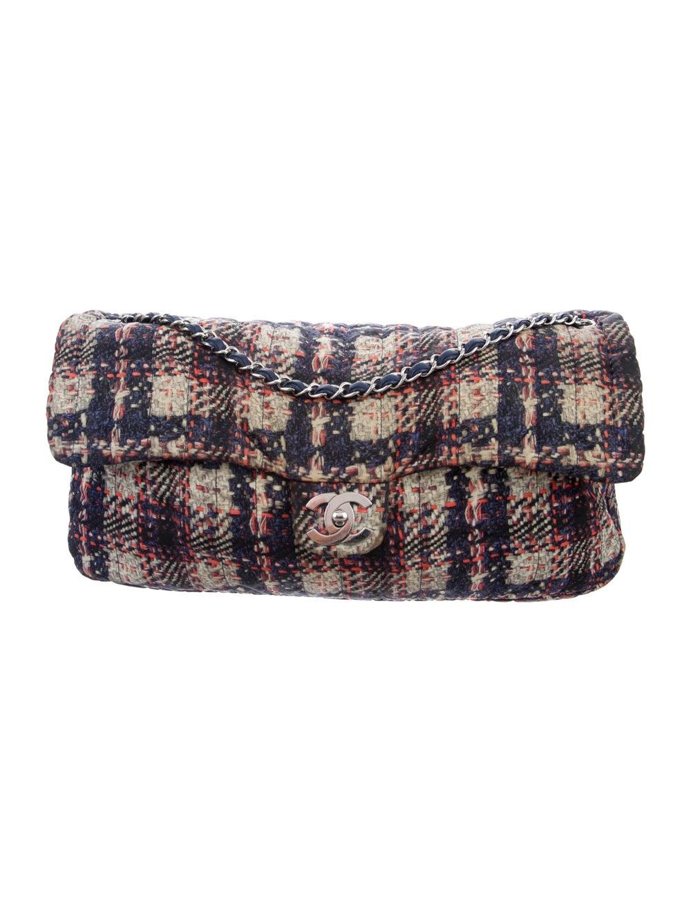 Chanel Large Nylon Tweed Flap Bag Blue - image 1