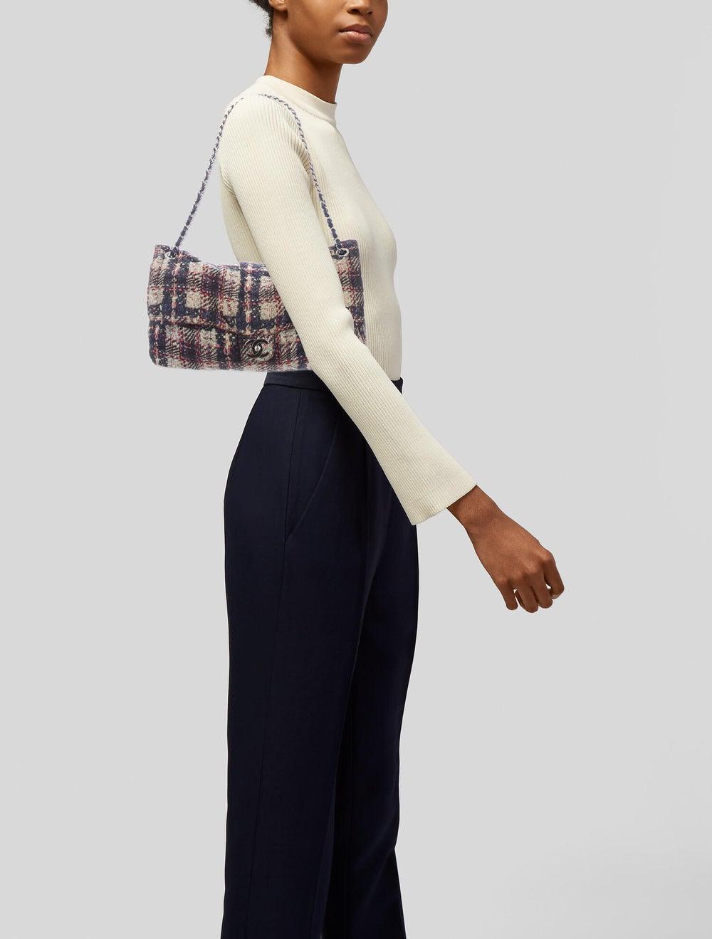 Chanel Large Nylon Tweed Flap Bag Blue - image 2
