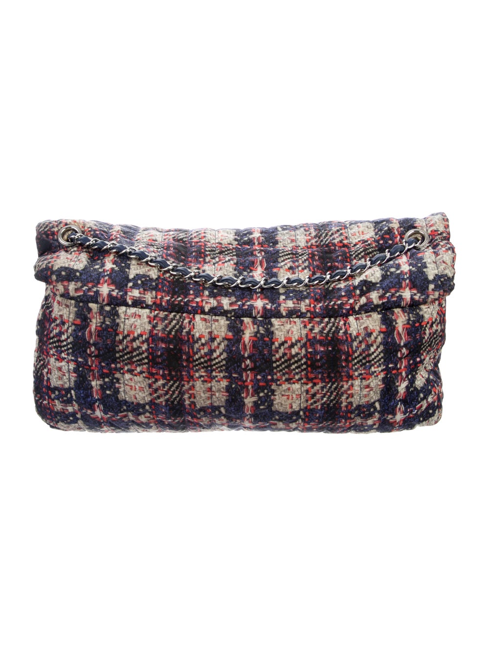 Chanel Large Nylon Tweed Flap Bag Blue - image 4