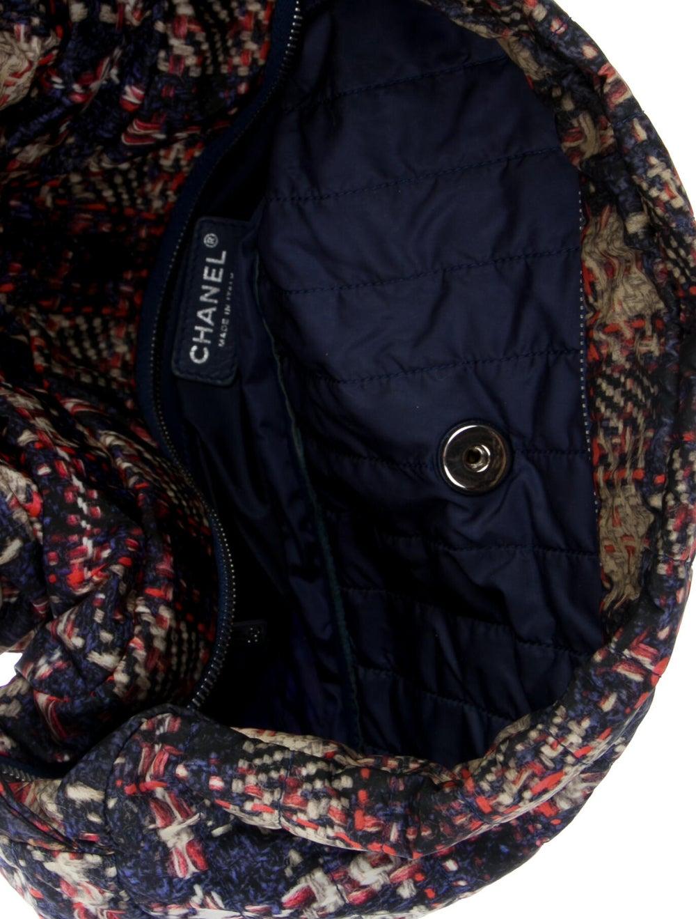 Chanel Large Nylon Tweed Flap Bag Blue - image 5