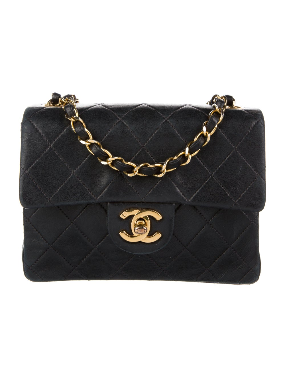 Chanel Vintage Mini Square Flap Bag Blue - image 1