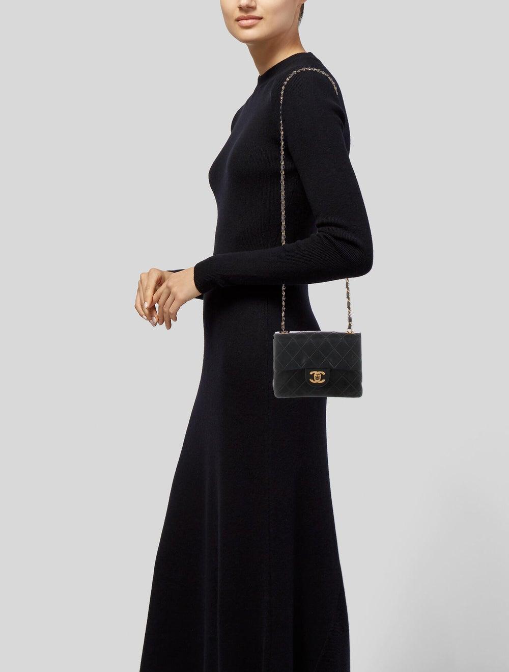 Chanel Vintage Mini Square Flap Bag Blue - image 2