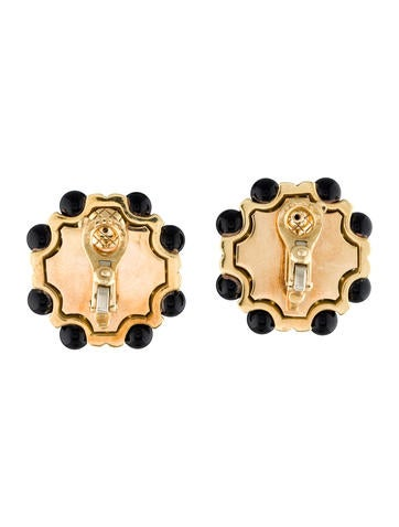 Quilted Onyx Clip-On Earrings