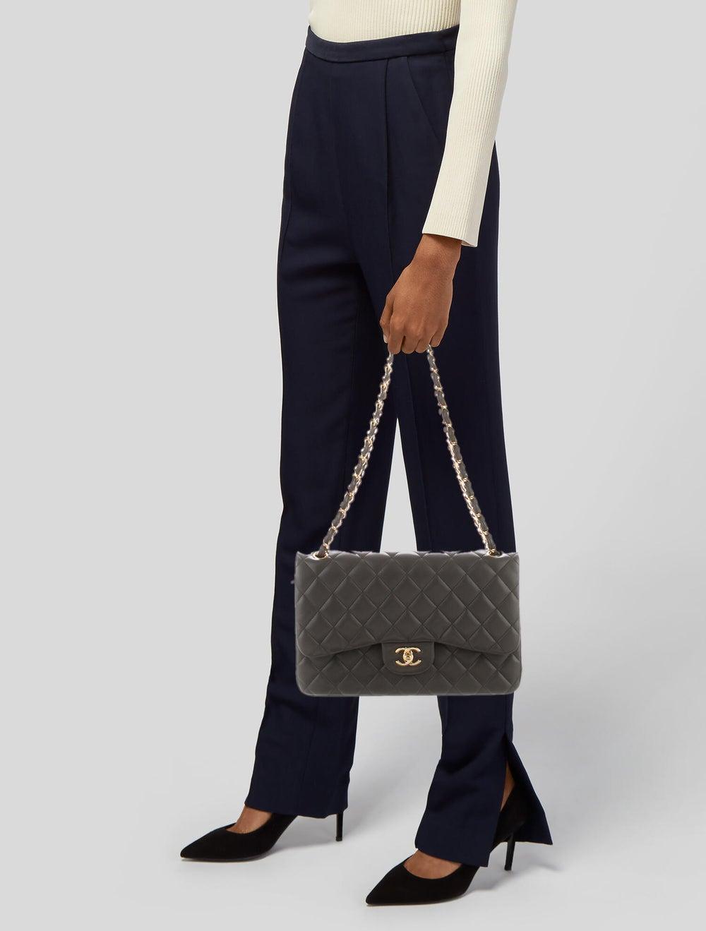 Chanel Classic Jumbo Double Flap Bag Grey - image 2