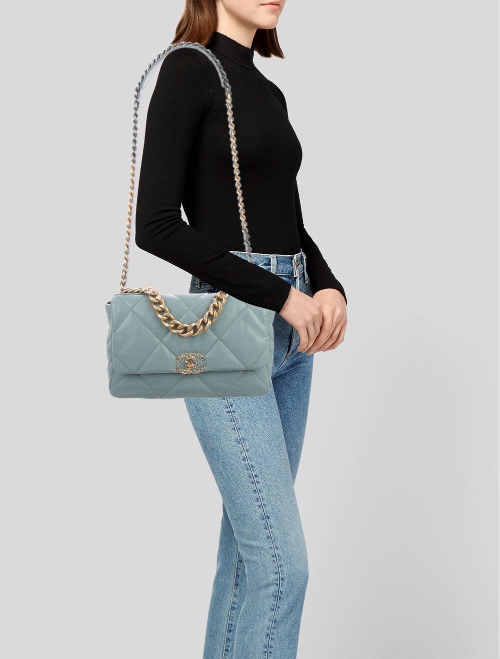 Chanel 2020 Large 19 Flap Bag Blue - image 2
