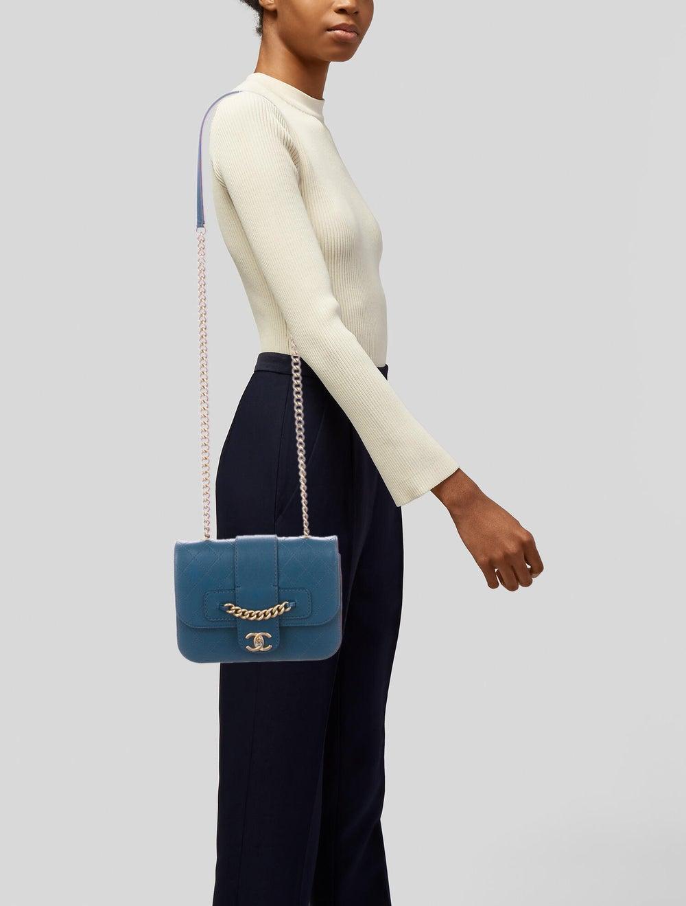 Chanel Front Chain Flap Bag Blue - image 2
