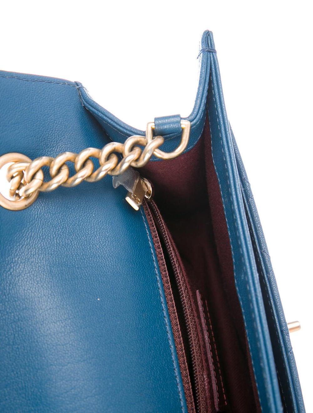 Chanel Front Chain Flap Bag Blue - image 5