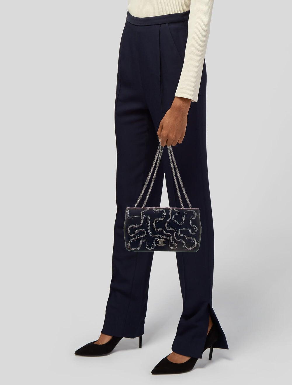 Chanel Satin LED Flap Bag Blue - image 2