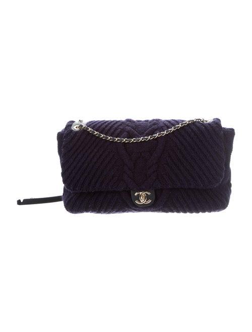 Chanel Paris-Hamburg Cable Knit Flap Bag Blue - image 1