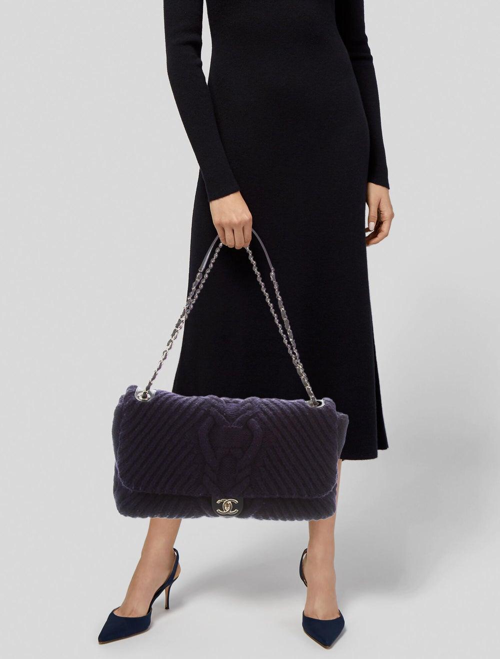 Chanel Paris-Hamburg Cable Knit Flap Bag Blue - image 2