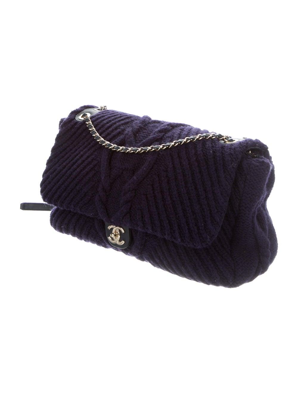 Chanel Paris-Hamburg Cable Knit Flap Bag Blue - image 3