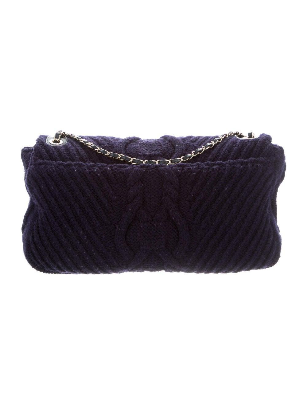 Chanel Paris-Hamburg Cable Knit Flap Bag Blue - image 4
