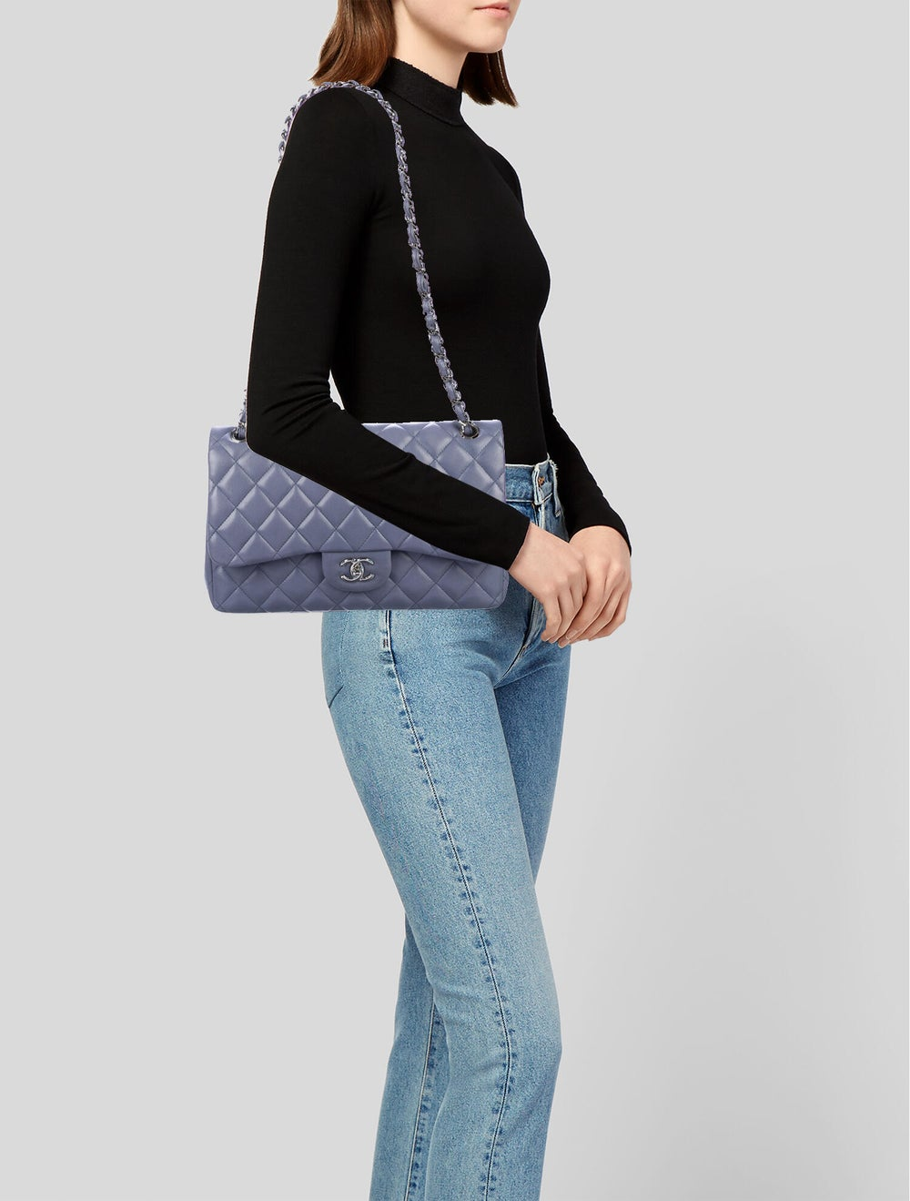 Chanel Classic Jumbo Double Flap Bag Purple - image 2