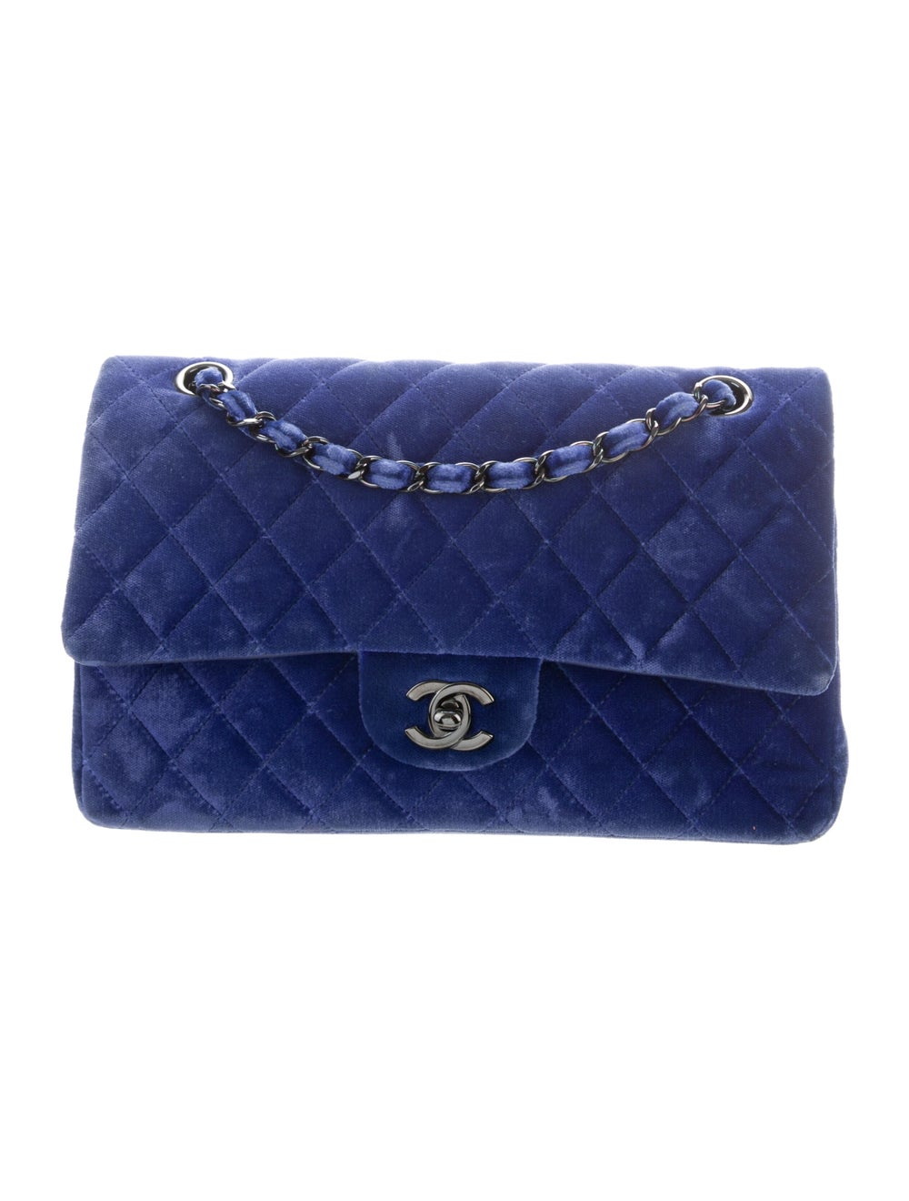 Chanel Velvet Medium Double Flap Bag Blue - image 1