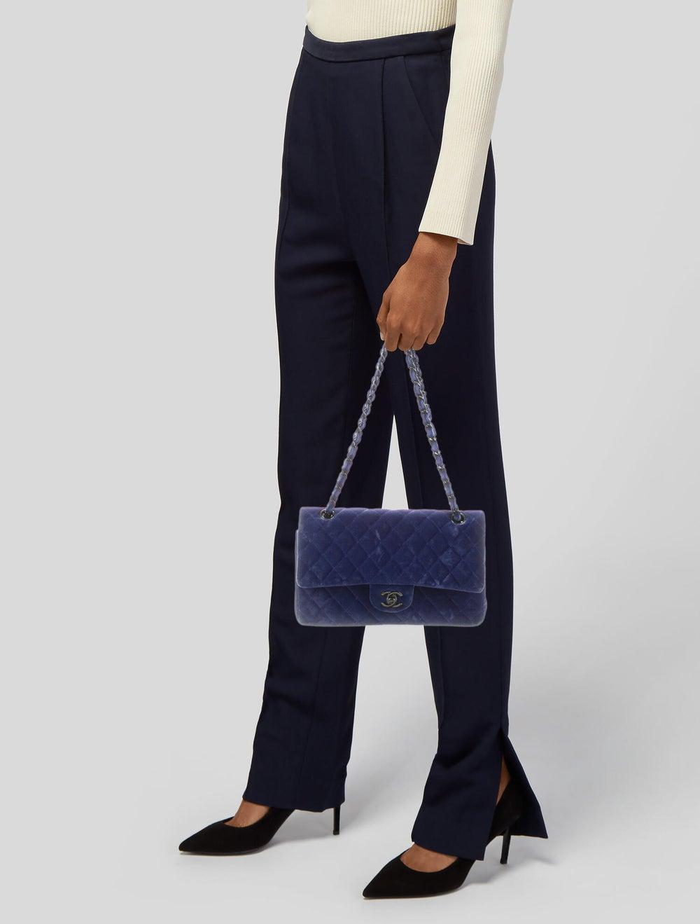 Chanel Velvet Medium Double Flap Bag Blue - image 2