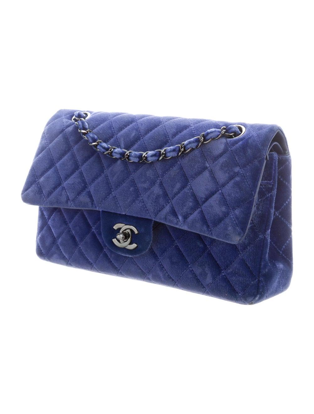Chanel Velvet Medium Double Flap Bag Blue - image 3