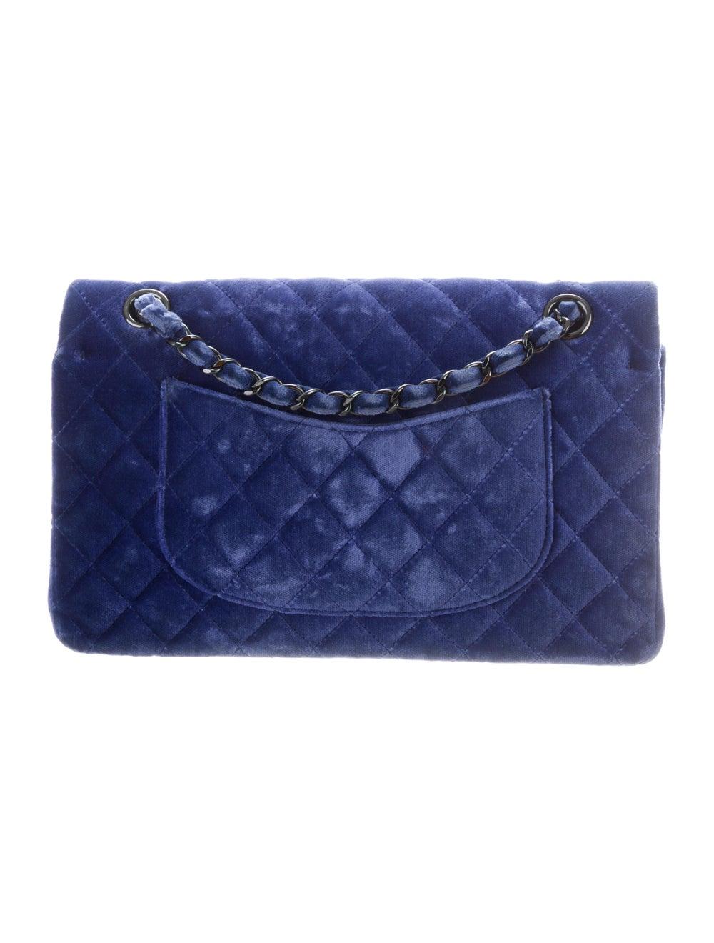 Chanel Velvet Medium Double Flap Bag Blue - image 4