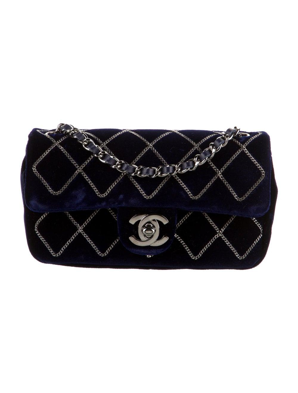Chanel Chain Stitch Mini Velvet Flap Bag Blue - image 1
