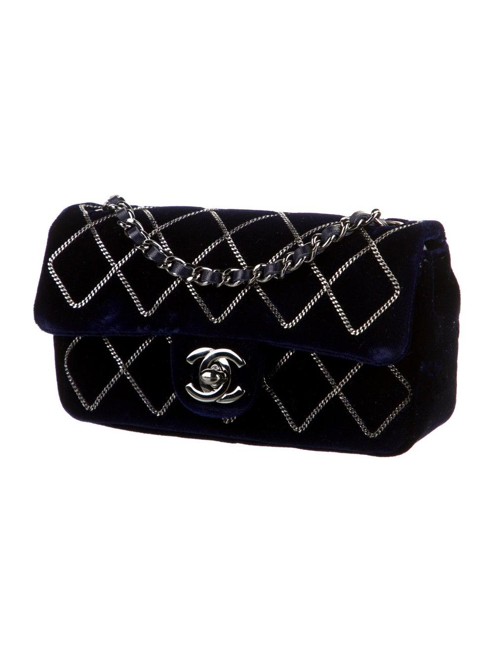 Chanel Chain Stitch Mini Velvet Flap Bag Blue - image 3