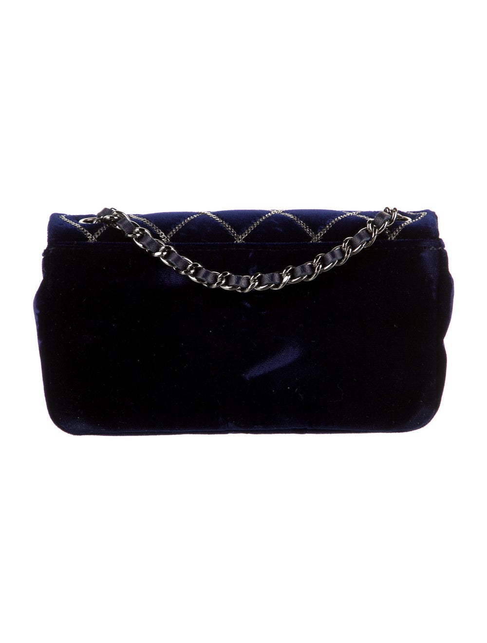 Chanel Chain Stitch Mini Velvet Flap Bag Blue - image 4
