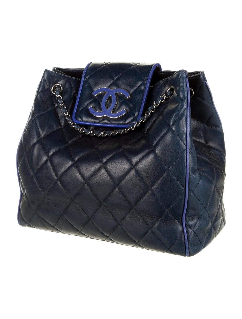 Chanel Hamptons CC Accordion Flap Bag Blue - image 3