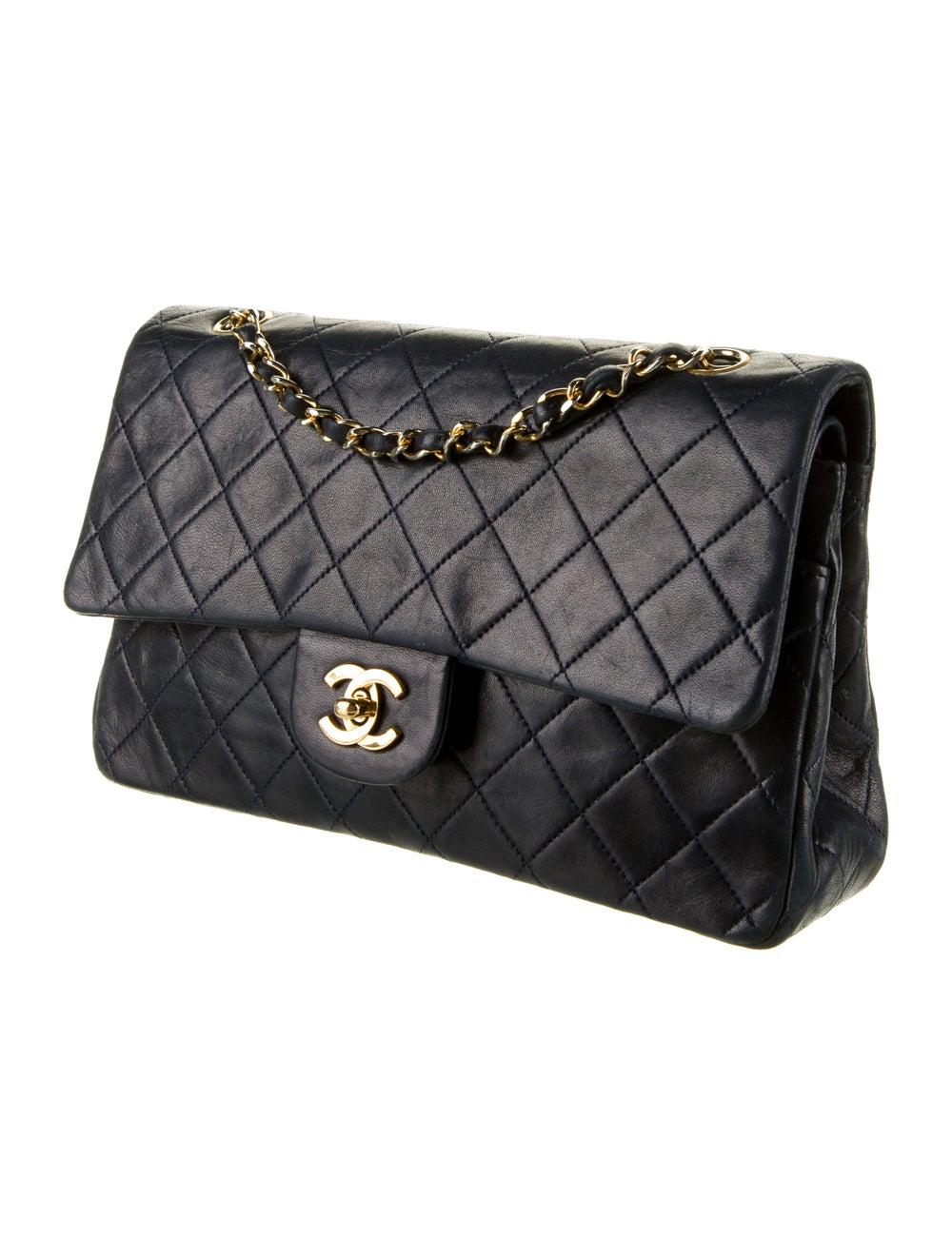 Chanel Vintage Classic Medium Double Flap Bag Blue - image 3