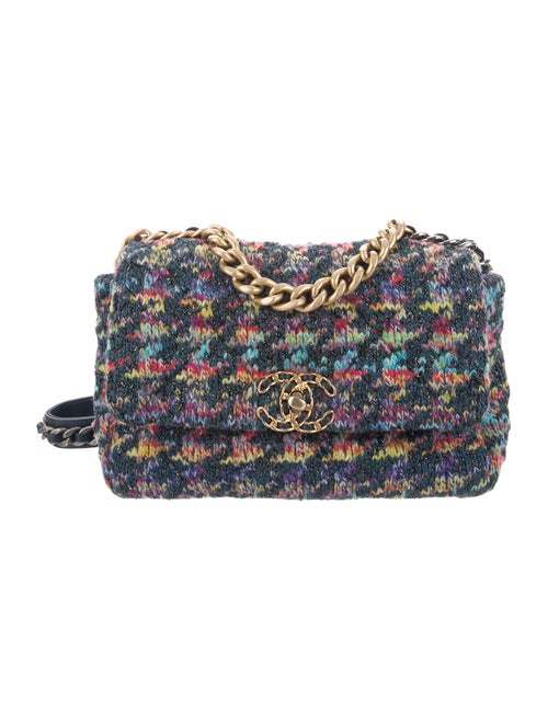 Chanel 2020 Medium Quilted Knit 19 Flap Bag Blue - image 1