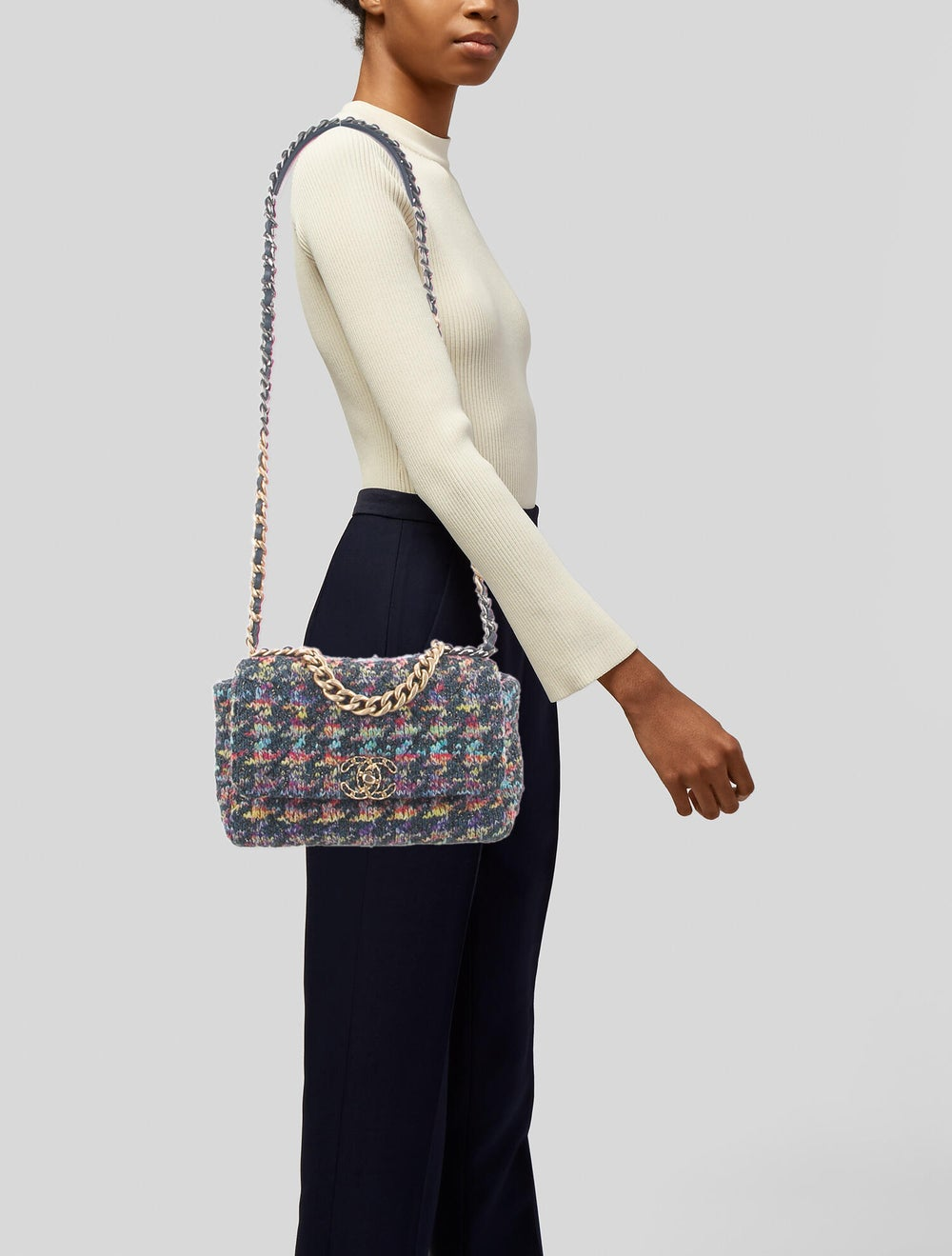Chanel 2020 Medium Quilted Knit 19 Flap Bag Blue - image 2