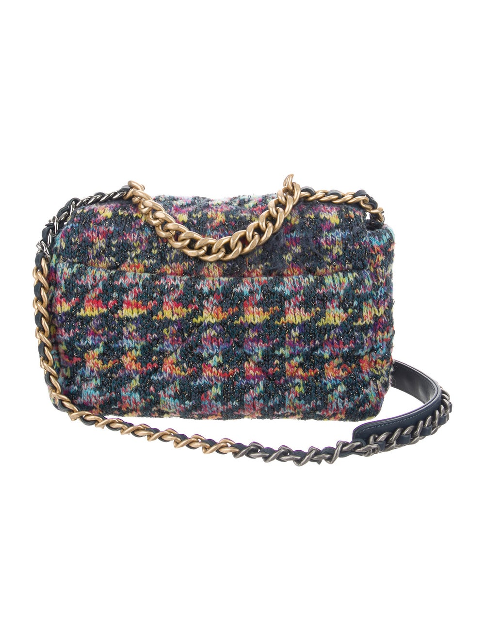 Chanel 2020 Medium Quilted Knit 19 Flap Bag Blue - image 4