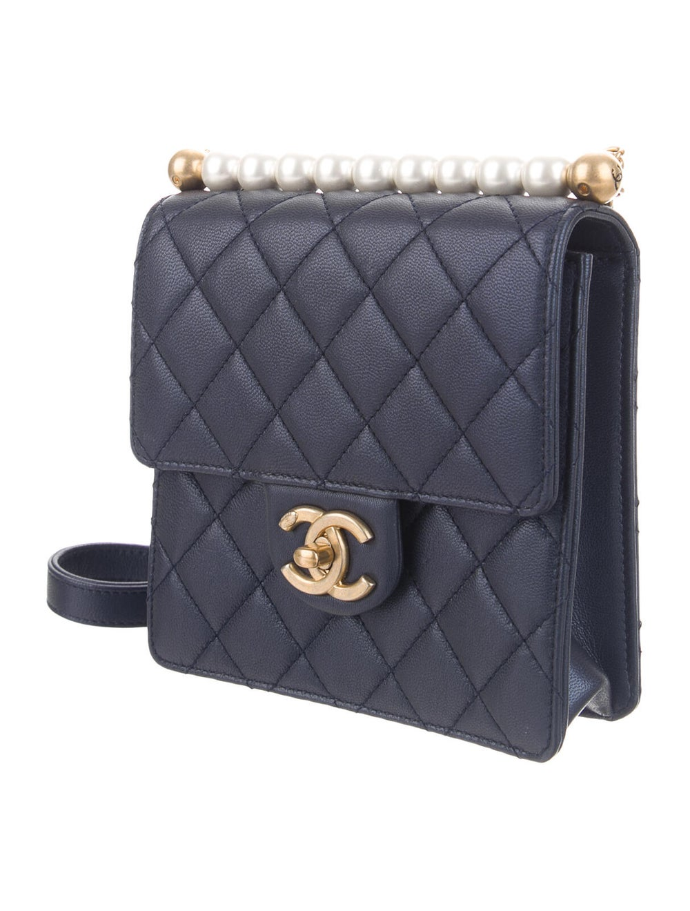 Chanel 2019 Small Chic Pearls Flap Bag Blue - image 3
