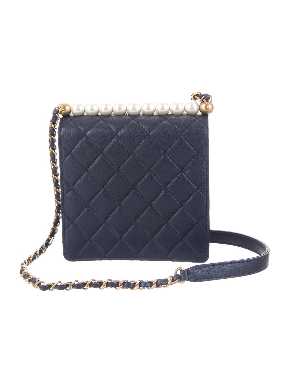 Chanel 2019 Small Chic Pearls Flap Bag Blue - image 4