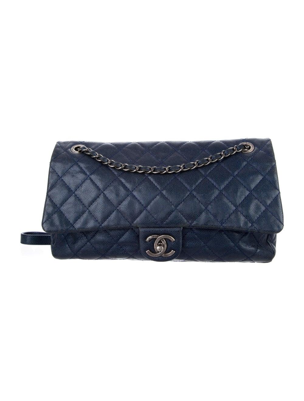 Chanel Jumbo Easy Caviar Flap Bag Blue - image 1