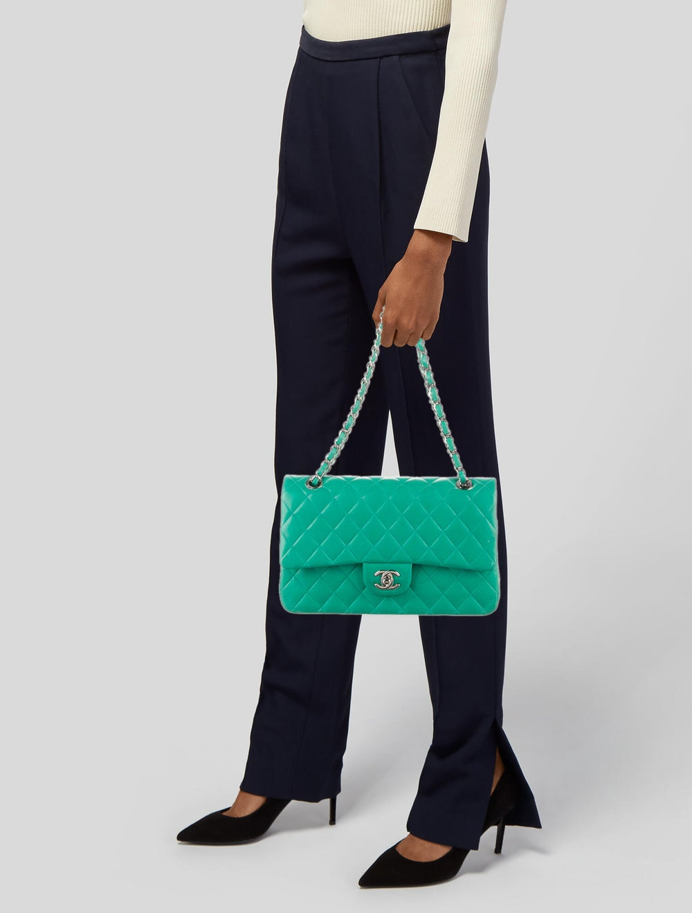 Chanel Classic Medium Double Flap Bag Blue - image 2