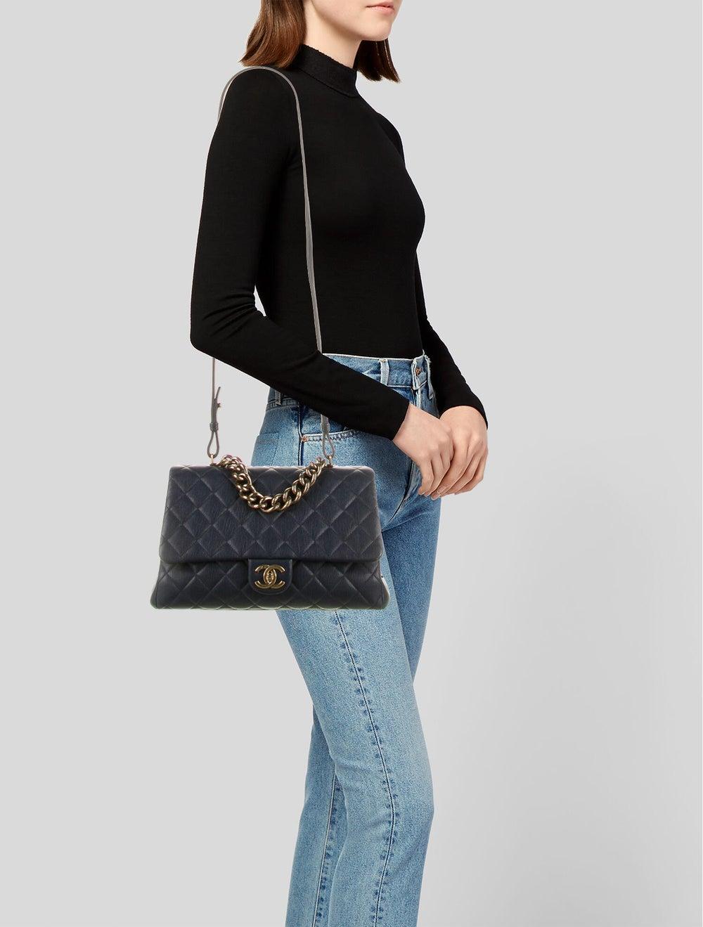 Chanel Paris-Rome Large Trapezio Flap Bag Blue - image 2
