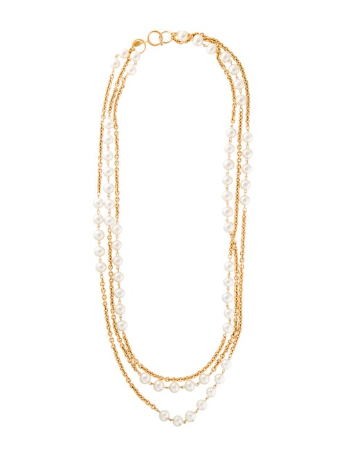Chanel Vintage Faux Pearl Multistrand Necklace Gol