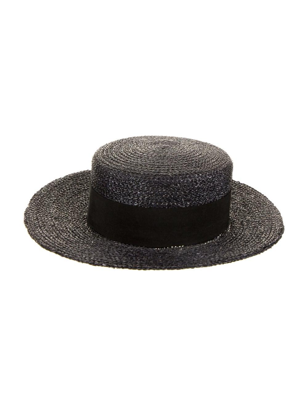 Chanel Straw Wide-Brim Sun Hat Black - image 1