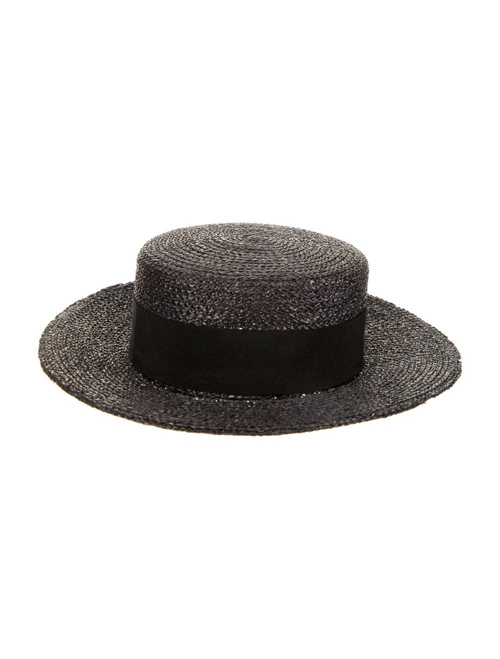 Chanel Straw Wide-Brim Sun Hat Black - image 2