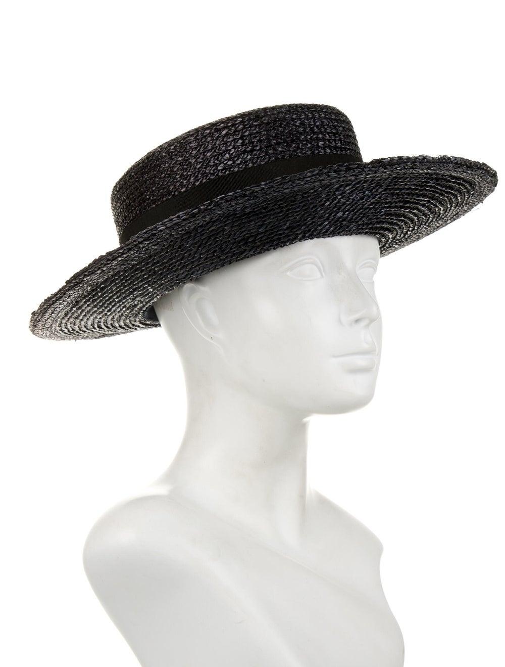 Chanel Straw Wide-Brim Sun Hat Black - image 3