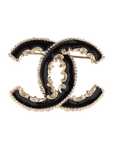 Black Enamel CC Brooch