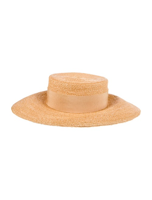 Chanel Straw Wide Brim Hat Tan - image 1