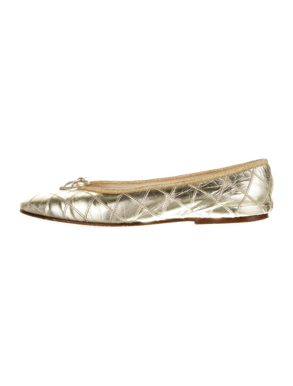 Chanel Vintage 1990's Ballet Flats Gold - image 1