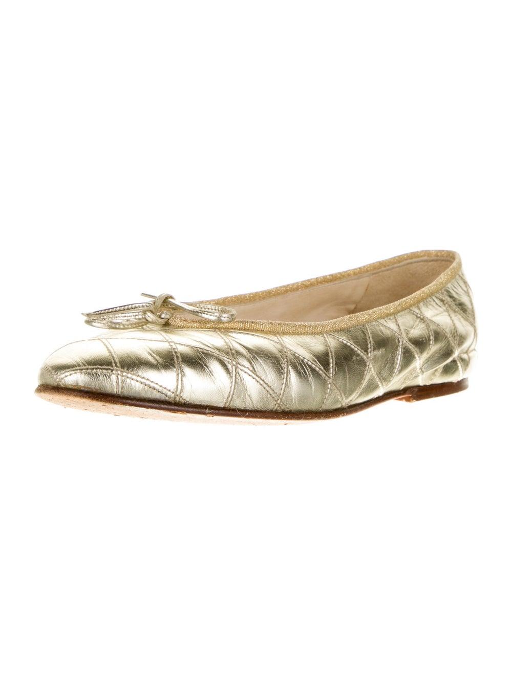 Chanel Vintage 1990's Ballet Flats Gold - image 2