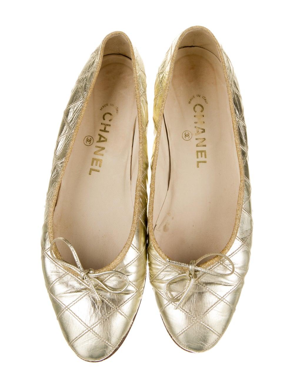 Chanel Vintage 1990's Ballet Flats Gold - image 3