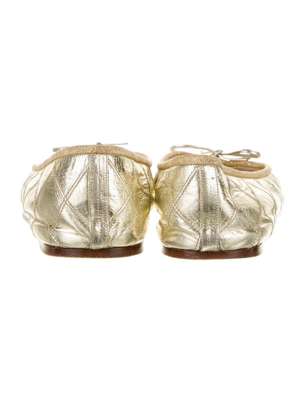 Chanel Vintage 1990's Ballet Flats Gold - image 4