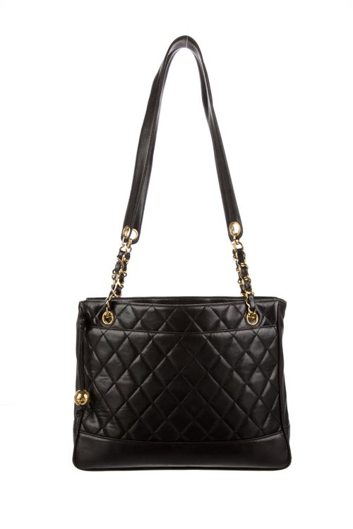 Chanel Vintage Quilted Chain Tote Black
