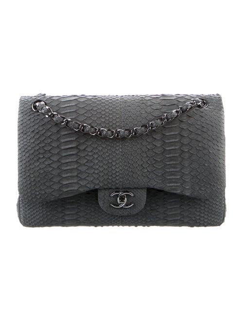Chanel Python Classic Jumbo Double Flap Bag Grey