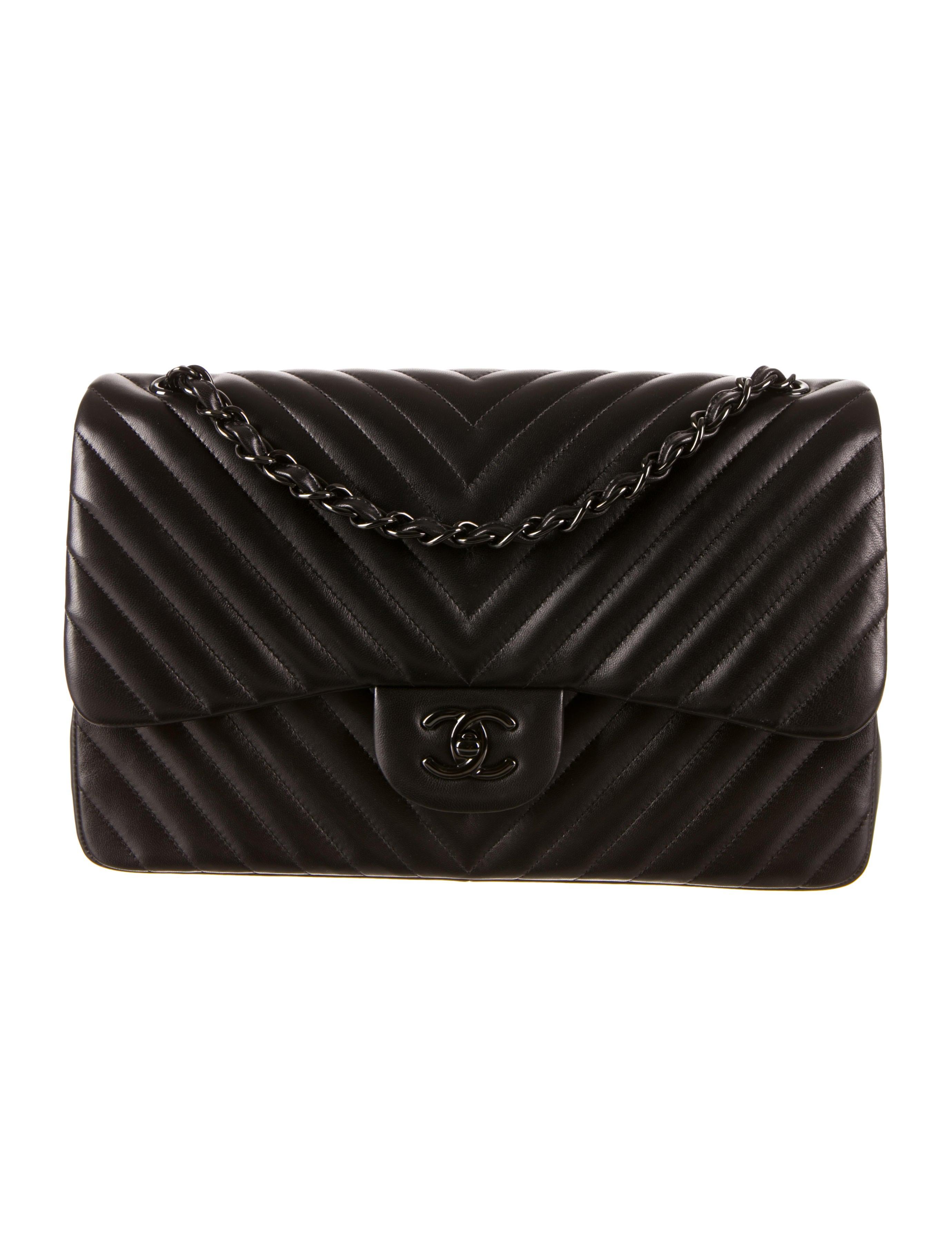 Chanel So Black Chevron Jumbo Flap Bag W Tags Handbags