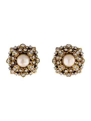 Crystal and Faux Pearl Clip-On Earrings