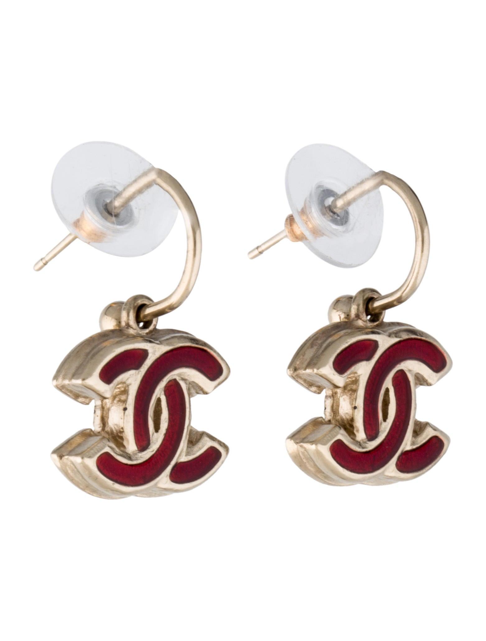 chanel cc logo drop earrings earrings cha79071 the