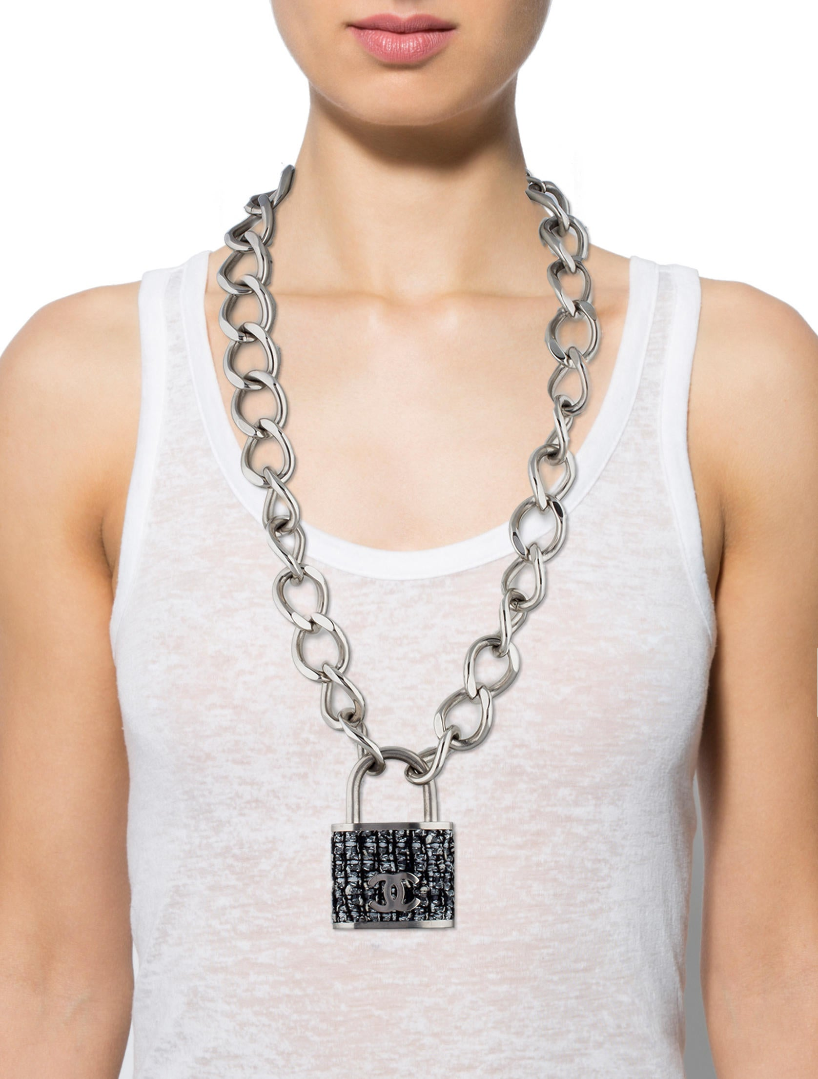 Chanel Tweed Padlock Necklace Necklaces Cha79206 The